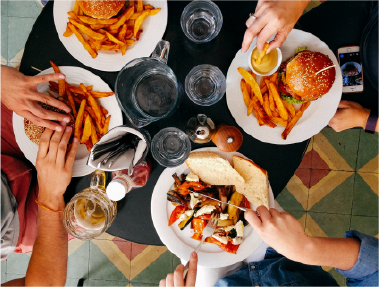 group of people enjoying food